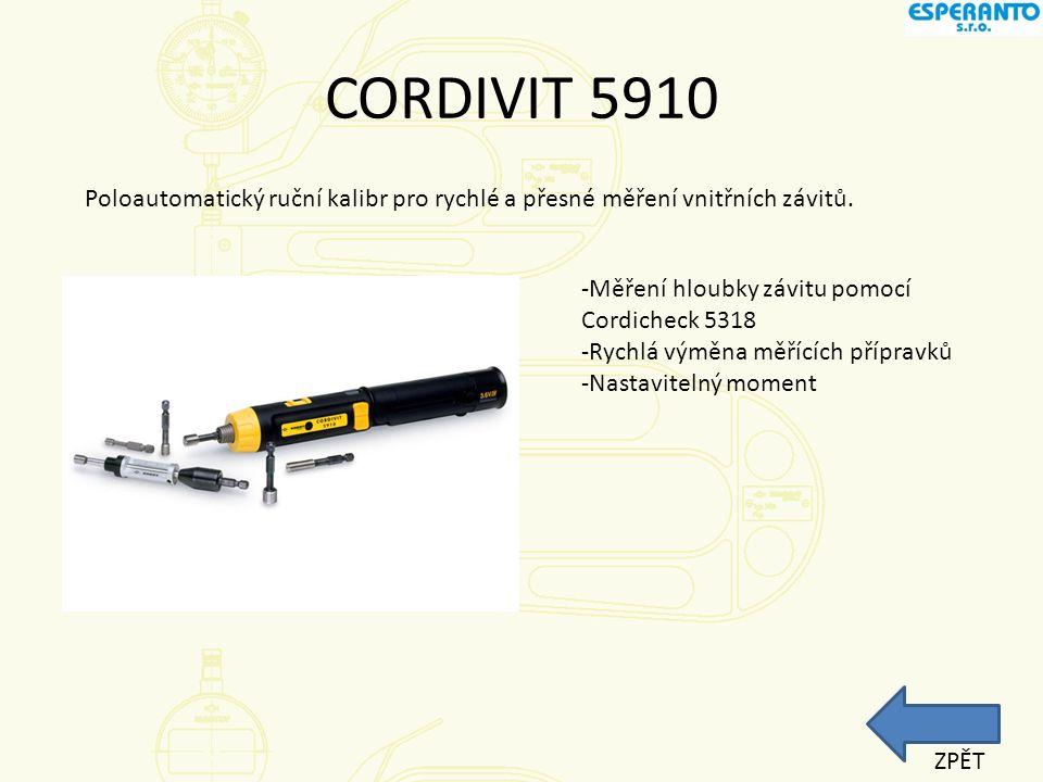 CORDIVIT 5910 Poloautomatický ruční kalibr pro rychlé a přesné měření vnitřních závitů. -Měření hloubky závitu pomocí Cordicheck 5318.