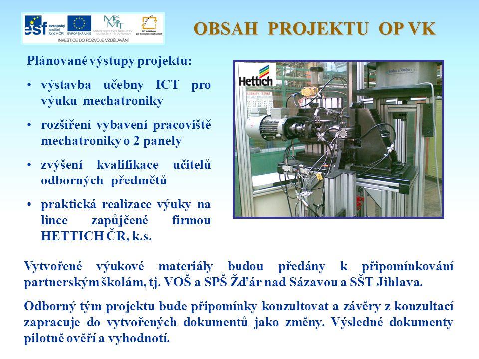 OBSAH PROJEKTU OP VK Plánované výstupy projektu: