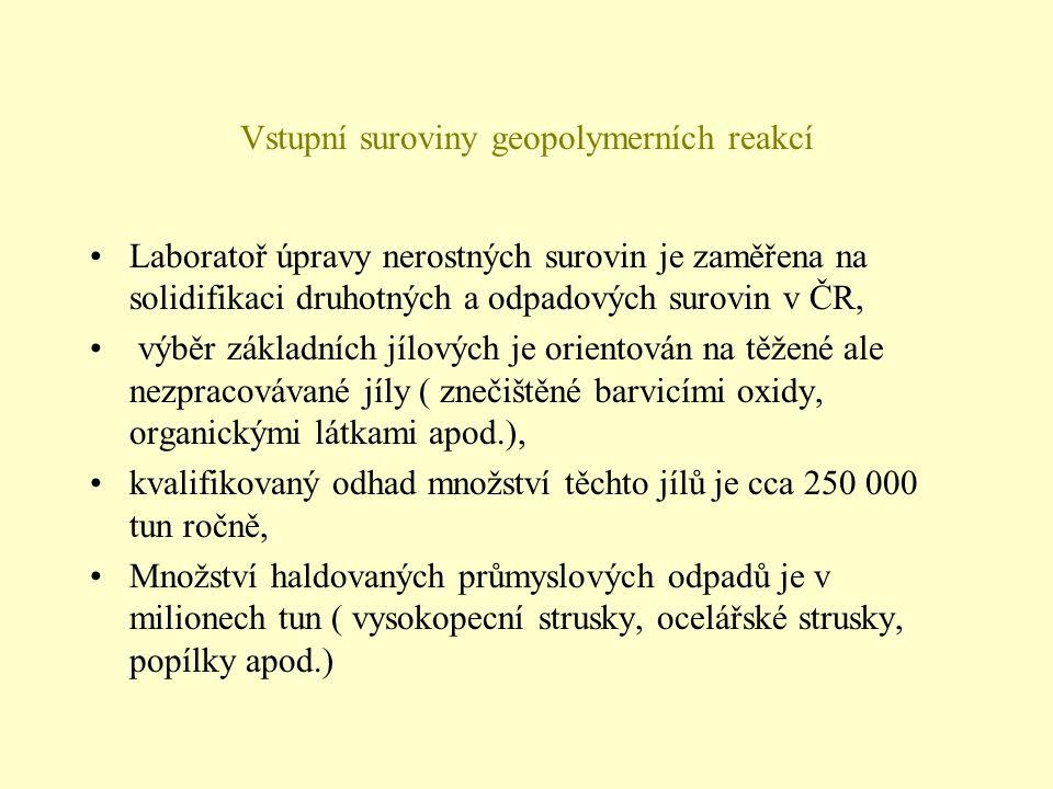 Vstupní suroviny geopolymerních reakcí