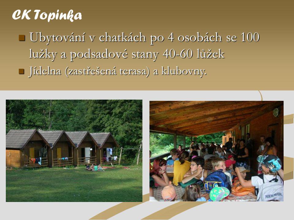 CK Topinka Ubytování v chatkách po 4 osobách se 100 lužky a podsadové stany 40-60 lůžek.