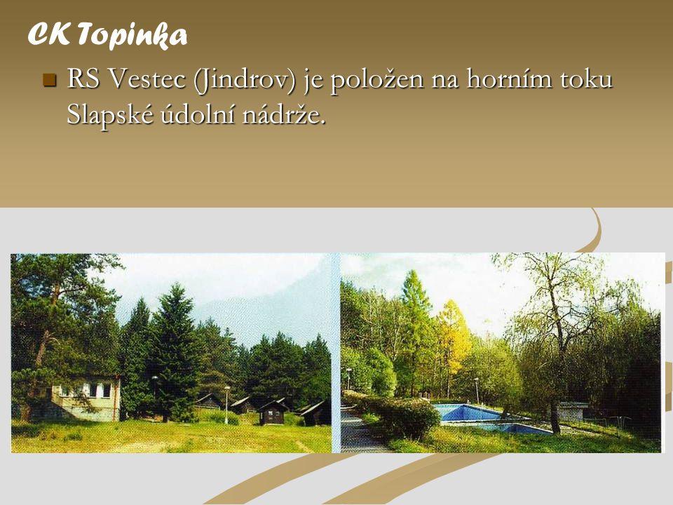 CK Topinka RS Vestec (Jindrov) je položen na horním toku Slapské údolní nádrže.