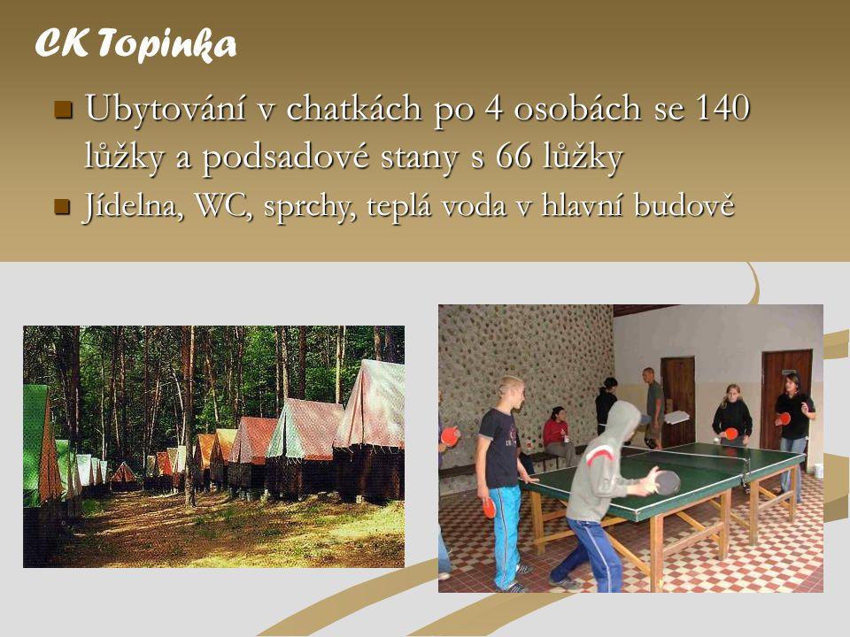 CK Topinka Ubytování v chatkách po 4 osobách se 140 lůžky a podsadové stany s 66 lůžky.