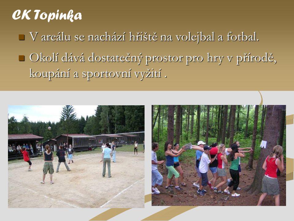 CK Topinka V areálu se nachází hřiště na volejbal a fotbal.
