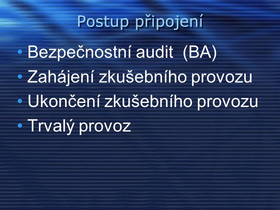 Bezpečnostní audit (BA) Zahájení zkušebního provozu