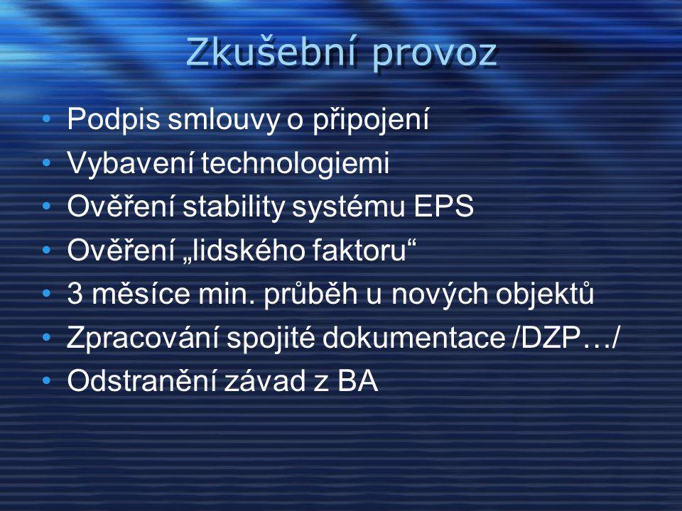 Zkušební provoz Podpis smlouvy o připojení Vybavení technologiemi