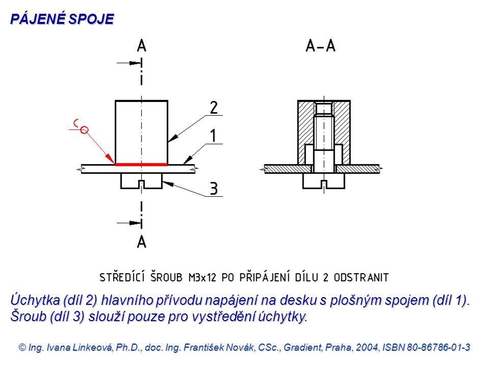 PÁJENÉ SPOJE Úchytka (díl 2) hlavního přívodu napájení na desku s plošným spojem (díl 1). Šroub (díl 3) slouží pouze pro vystředění úchytky.