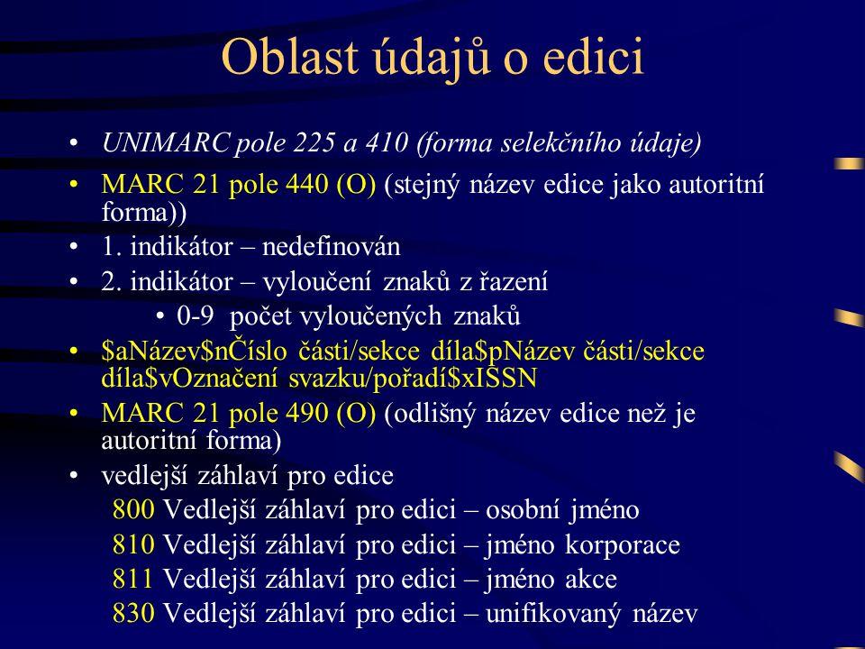 Oblast údajů o edici UNIMARC pole 225 a 410 (forma selekčního údaje)