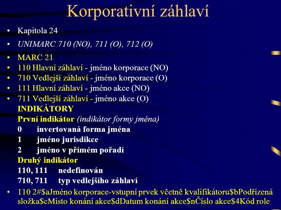 Korporativní záhlaví Kapitola 24 UNIMARC 710 (NO), 711 (O), 712 (O)