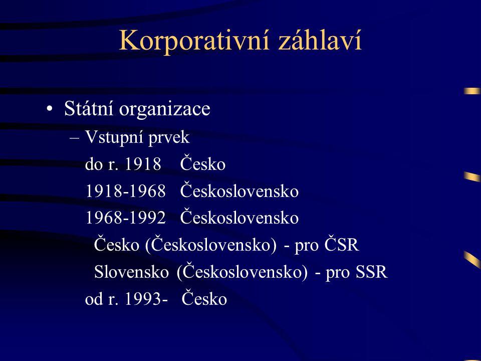 Korporativní záhlaví Státní organizace Vstupní prvek