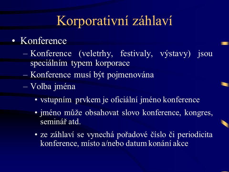 Korporativní záhlaví Konference