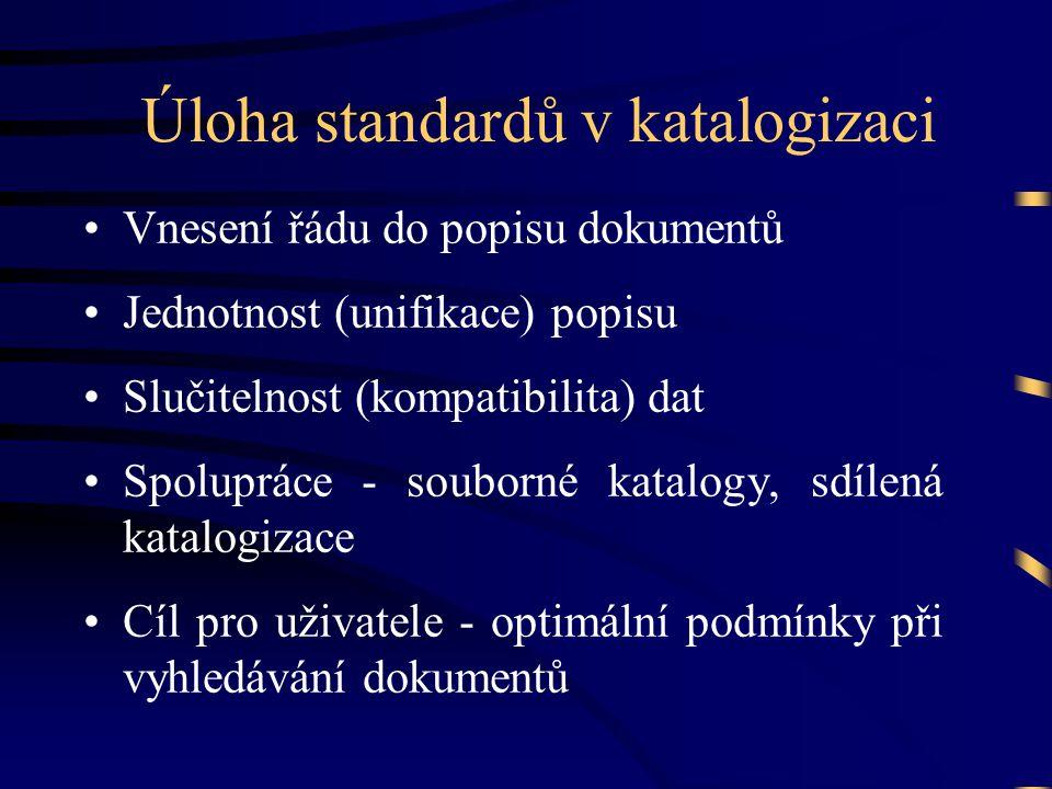 Úloha standardů v katalogizaci