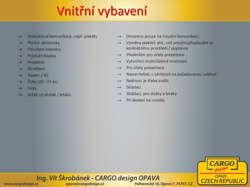 Vnitřní vybavení Produktová komunikace, např. plakáty Ploché obrazovky