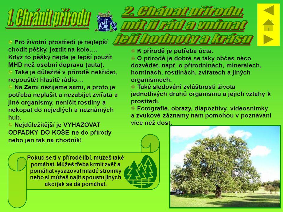 2. Chápat přírodu, 1. Chránit přírodu mít ji rád a vnímat
