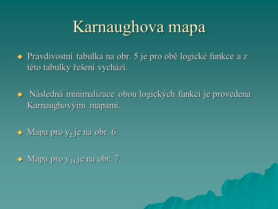 Karnaughova mapa Pravdivostní tabulka na obr. 5 je pro obě logické funkce a z této tabulky řešení vychází.