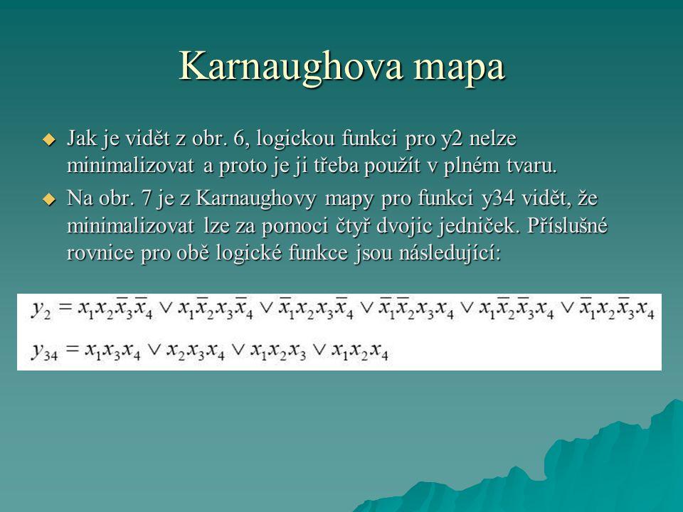 Karnaughova mapa Jak je vidět z obr. 6, logickou funkci pro y2 nelze minimalizovat a proto je ji třeba použít v plném tvaru.