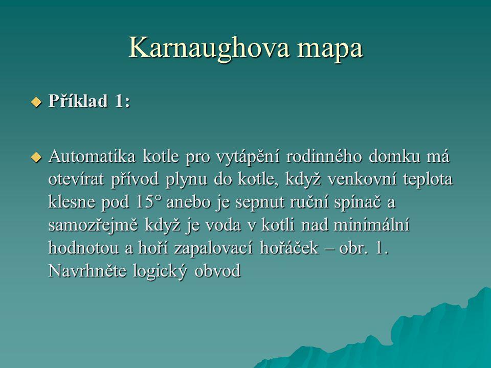 Karnaughova mapa Příklad 1: