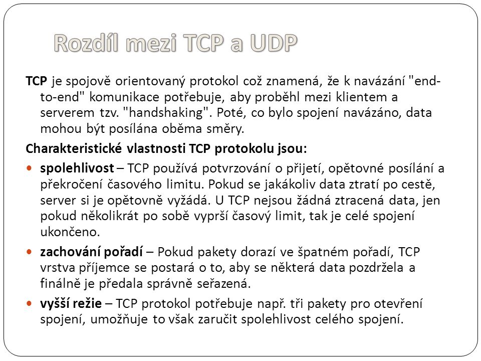 Rozdíl mezi TCP a UDP