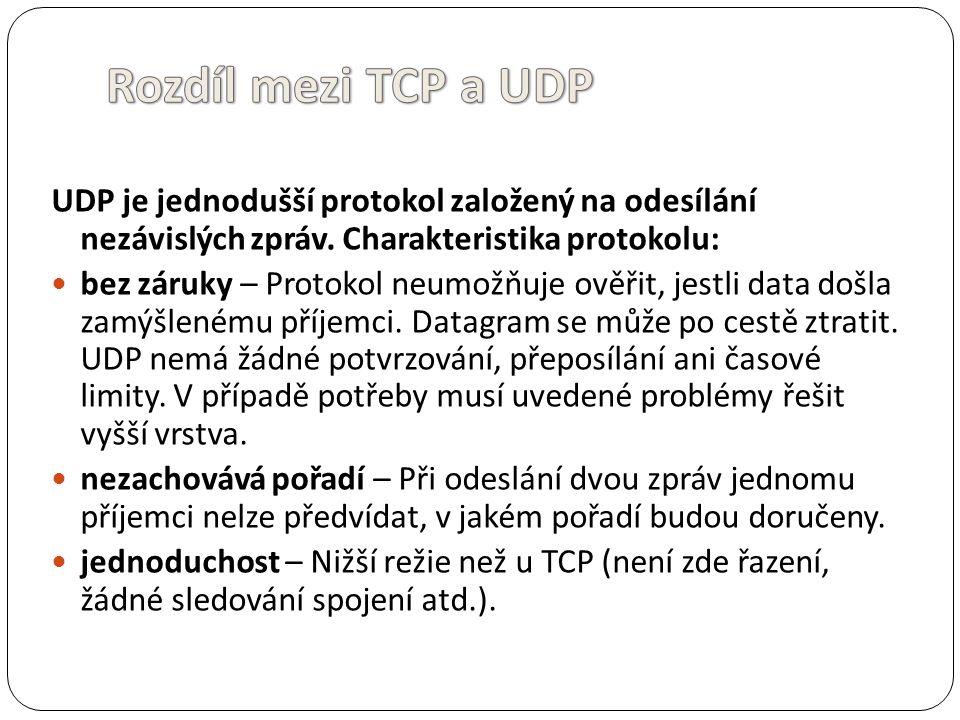 Rozdíl mezi TCP a UDP UDP je jednodušší protokol založený na odesílání nezávislých zpráv. Charakteristika protokolu: