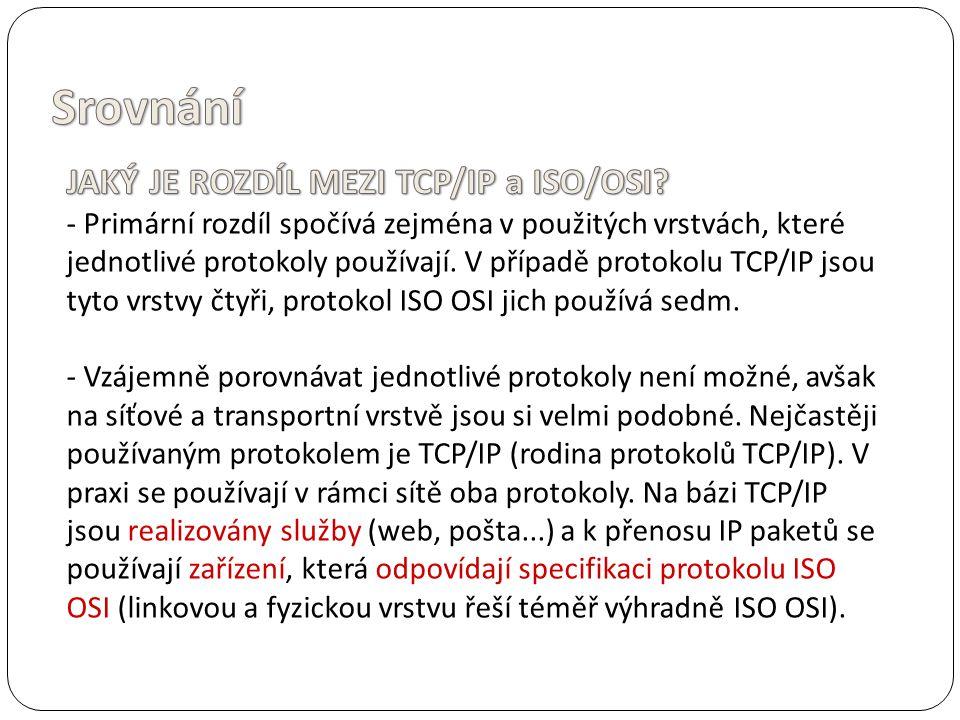 Srovnání JAKÝ JE ROZDÍL MEZI TCP/IP a ISO/OSI