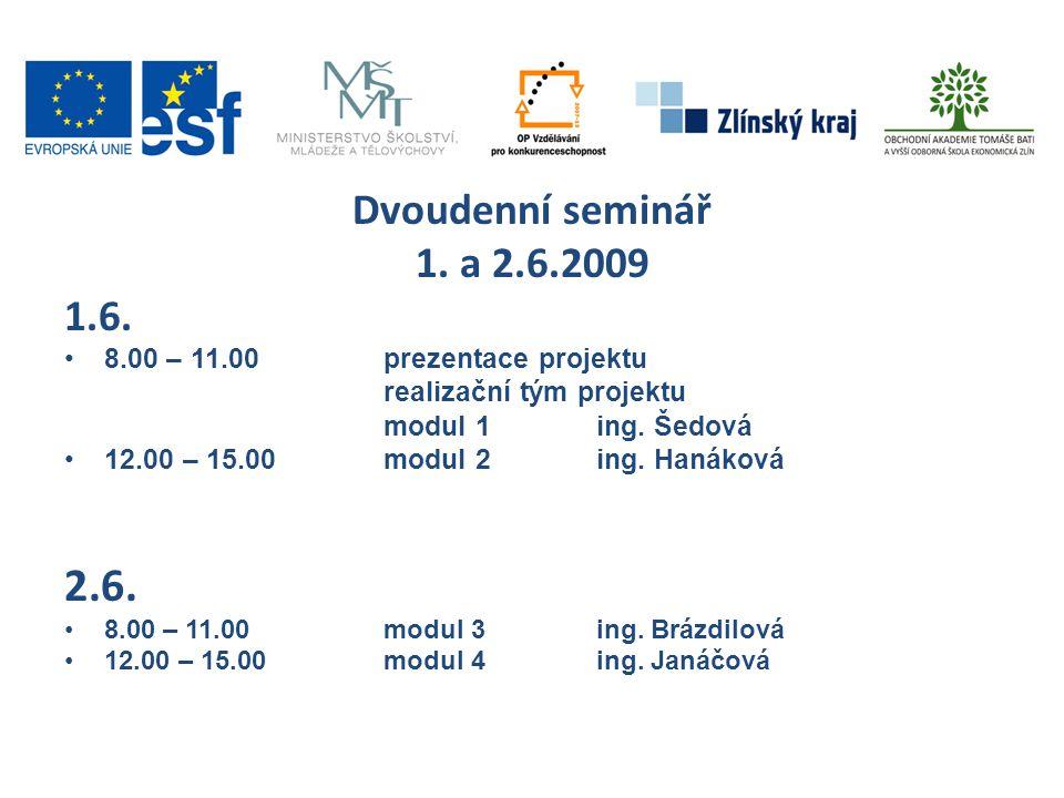 Dvoudenní seminář 1. a 2.6.2009. 1.6. 8.00 – 11.00 prezentace projektu. realizační tým projektu.