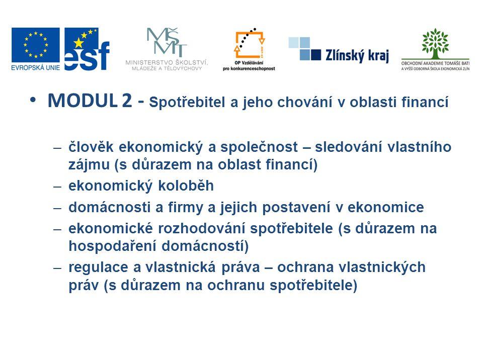 MODUL 2 - Spotřebitel a jeho chování v oblasti financí