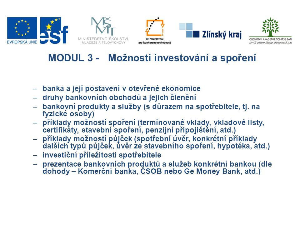 MODUL 3 - Možnosti investování a spoření