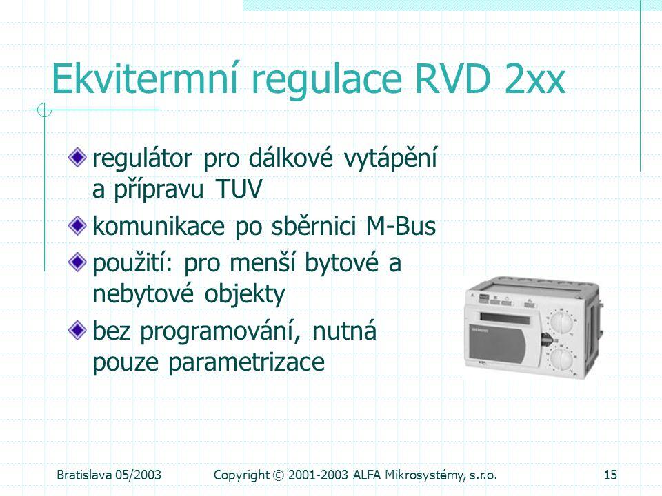 Ekvitermní regulace RVD 2xx