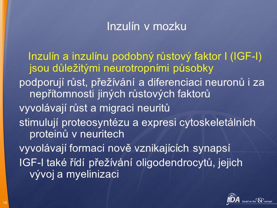Inzulín v mozku Inzulín a inzulínu podobný růstový faktor I (IGF-I) jsou důležitými neurotropními působky.