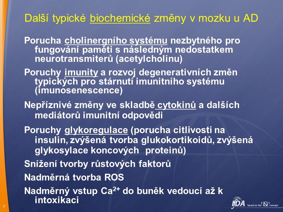 Další typické biochemické změny v mozku u AD