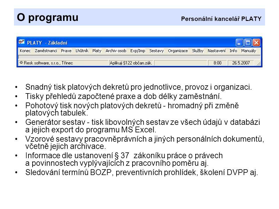 O programu Personální kancelář PLATY