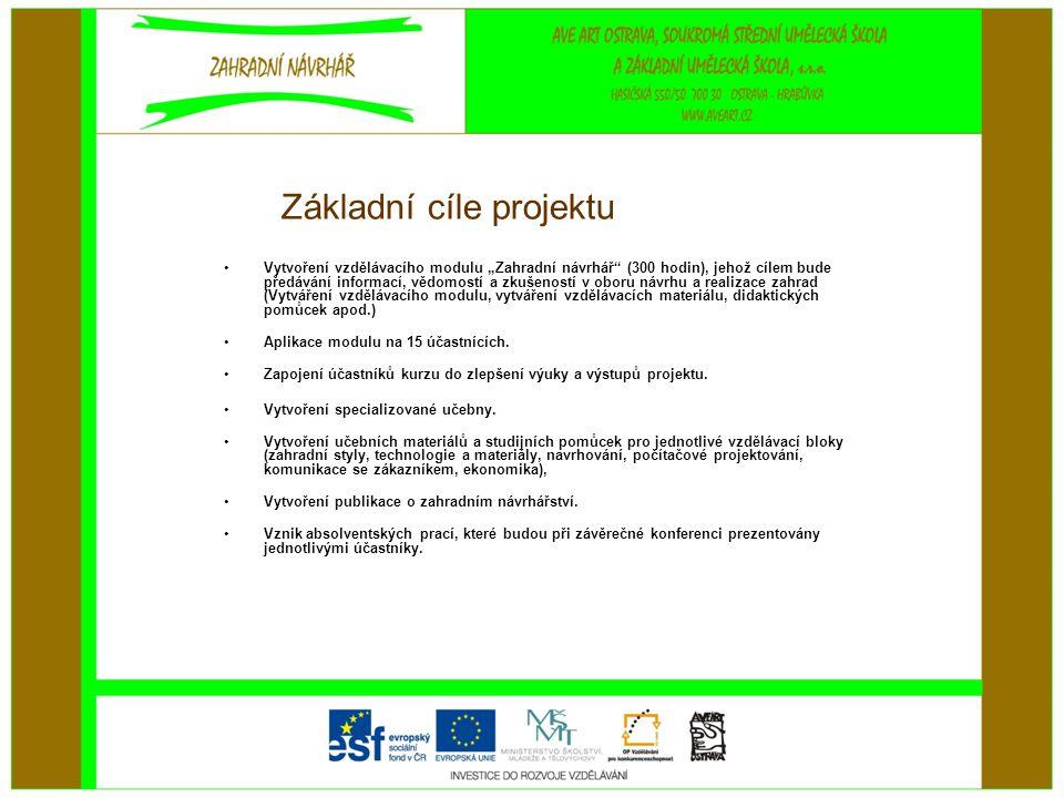 Základní cíle projektu