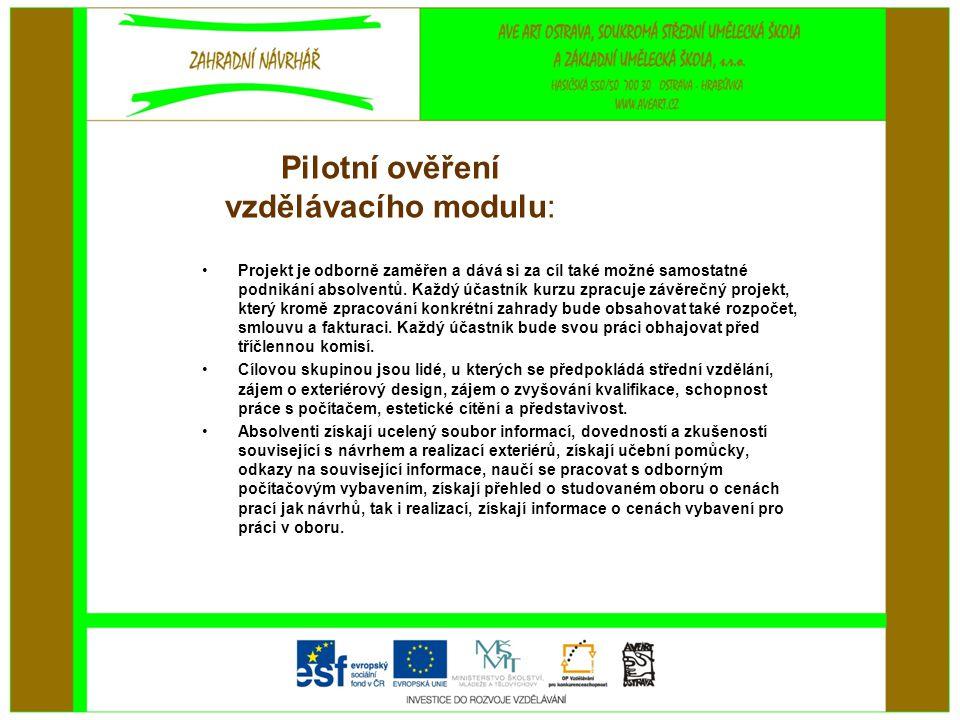 Pilotní ověření vzdělávacího modulu: