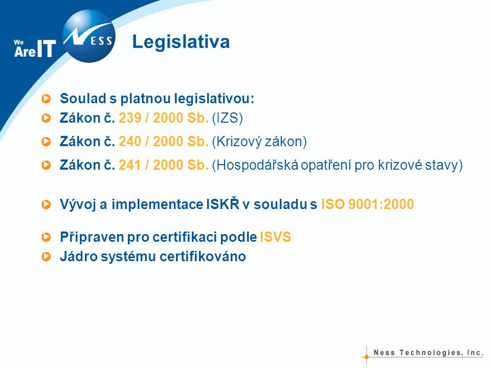 Legislativa Soulad s platnou legislativou: