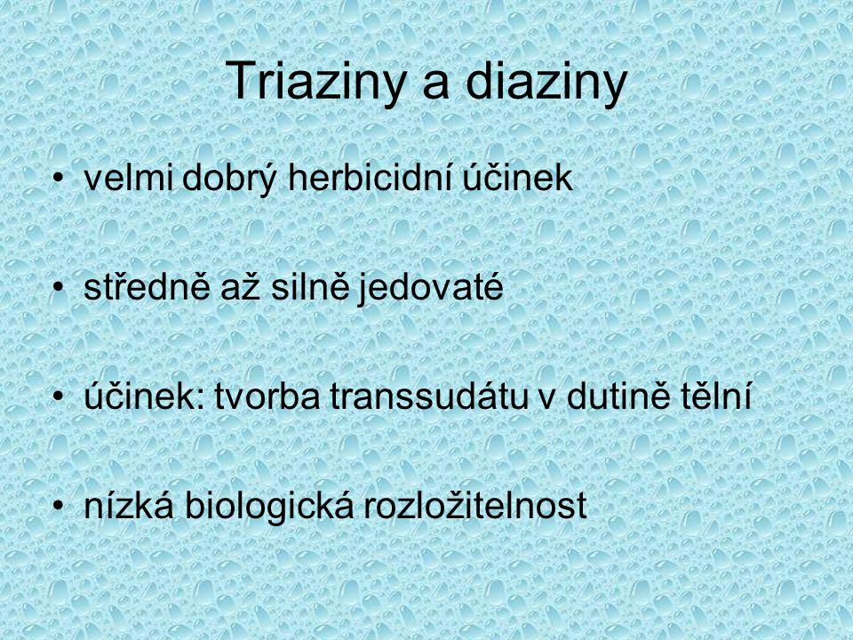 Triaziny a diaziny velmi dobrý herbicidní účinek