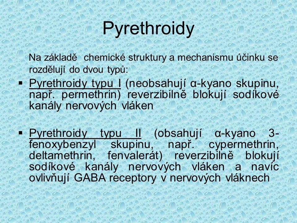 Pyrethroidy Na základě chemické struktury a mechanismu účinku se rozdělují do dvou typů: