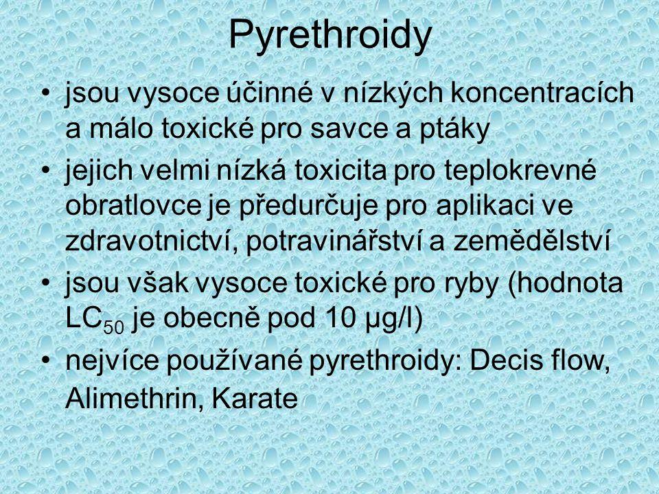 Pyrethroidy jsou vysoce účinné v nízkých koncentracích a málo toxické pro savce a ptáky.