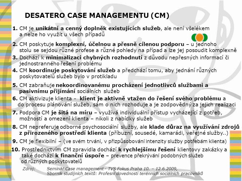 DESATERO CASE MANAGEMENTU (CM)