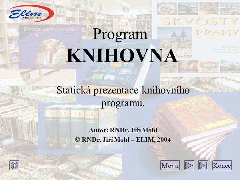 Statická prezentace knihovního programu.