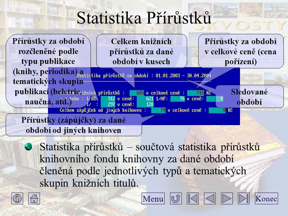 Statistika Přírůstků Přírůstky za období rozčleněné podle typu publikace (knihy, periodika) a tematických skupin publikací (beletrie, naučná, atd.)