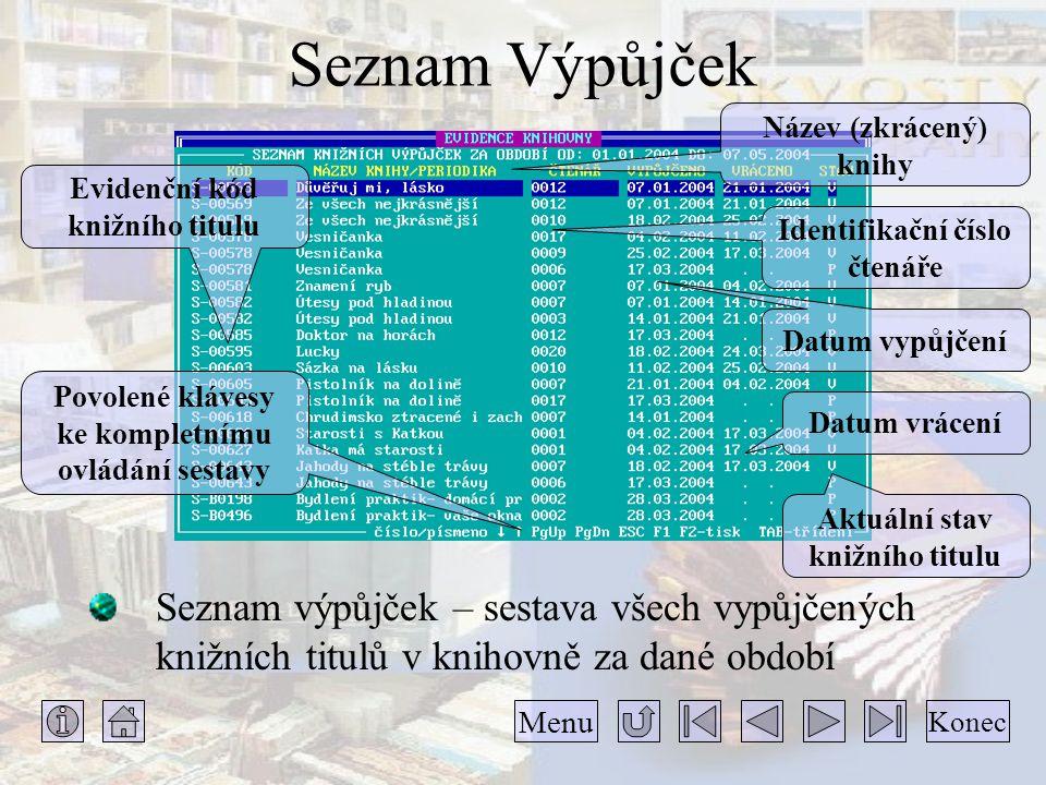 Seznam Výpůjček Název (zkrácený) knihy. Evidenční kód knižního titulu. Identifikační číslo čtenáře.
