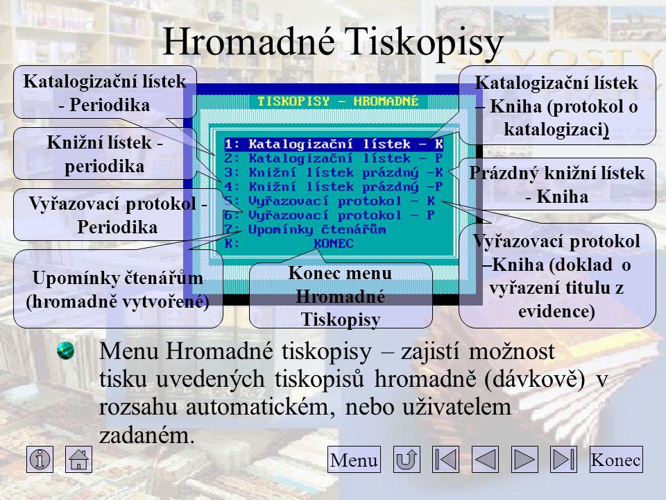 Hromadné Tiskopisy Katalogizační lístek - Periodika. Katalogizační lístek – Kniha (protokol o katalogizaci)