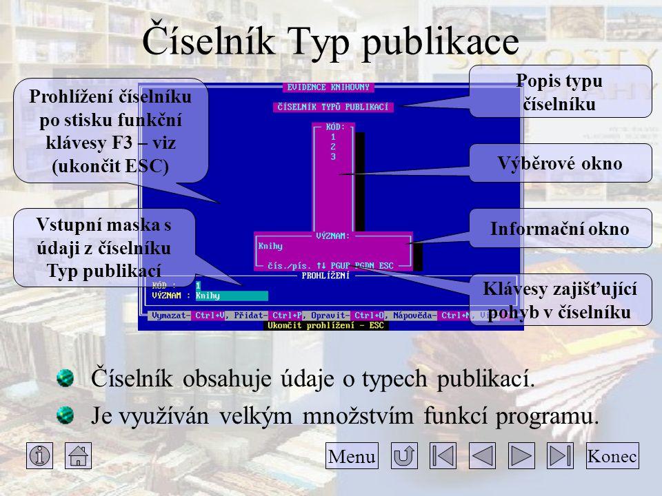 Číselník Typ publikace