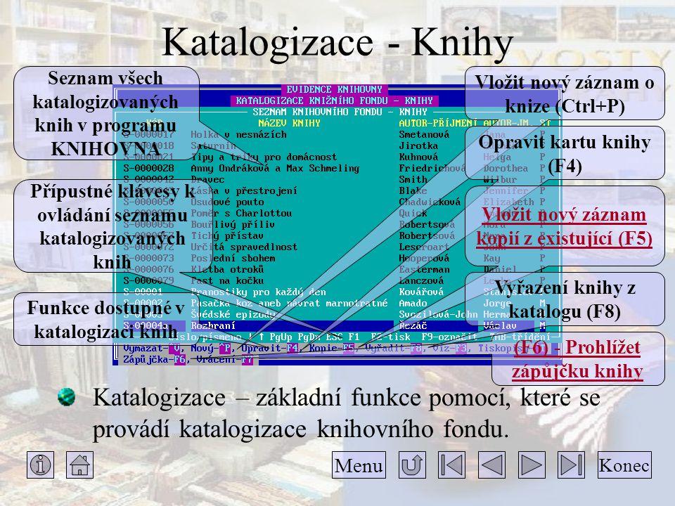 Katalogizace - Knihy Seznam všech katalogizovaných knih v programu KNIHOVNA. Vložit nový záznam o knize (Ctrl+P)