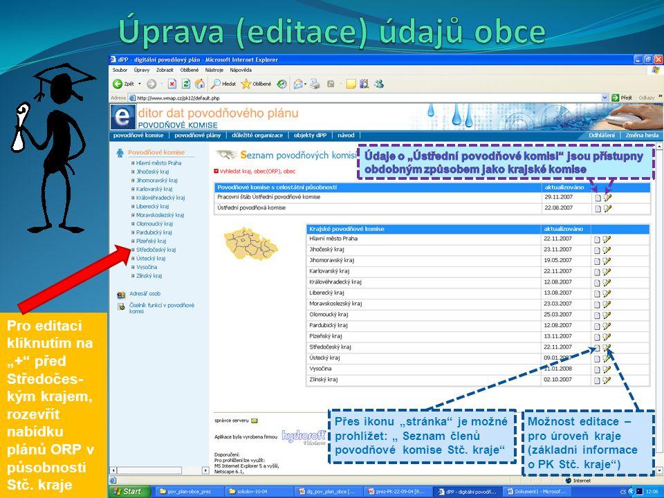 Úprava (editace) údajů obce