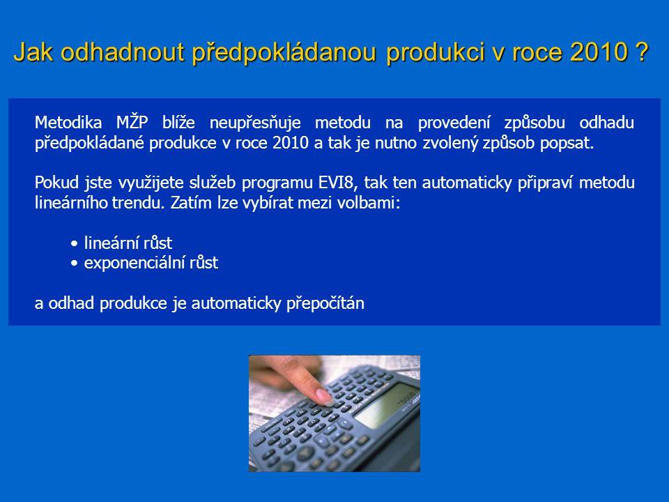 Jak odhadnout předpokládanou produkci v roce 2010