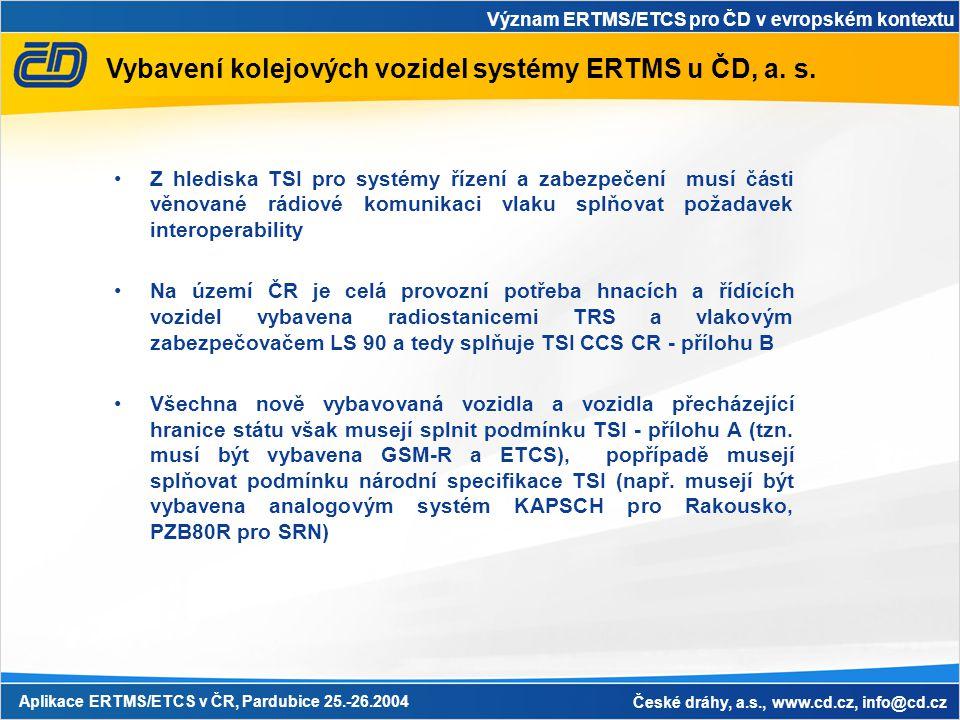Vybavení kolejových vozidel systémy ERTMS u ČD, a. s.