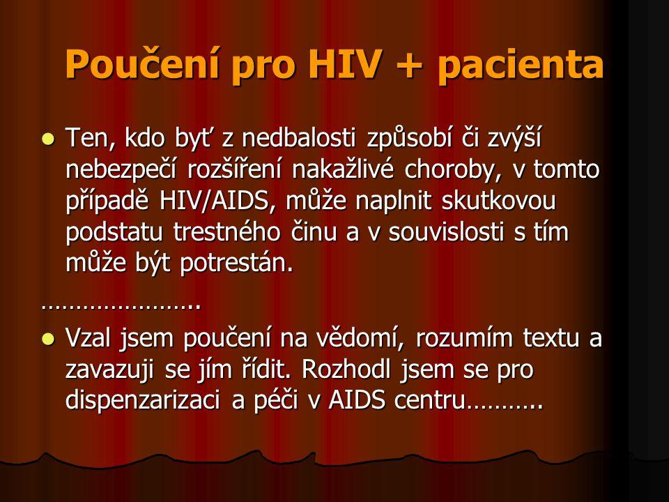 Poučení pro HIV + pacienta