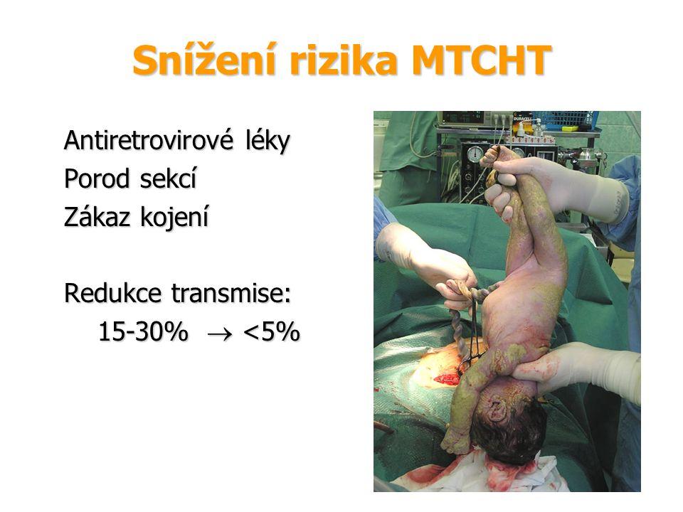 Snížení rizika MTCHT Antiretrovirové léky Porod sekcí Zákaz kojení