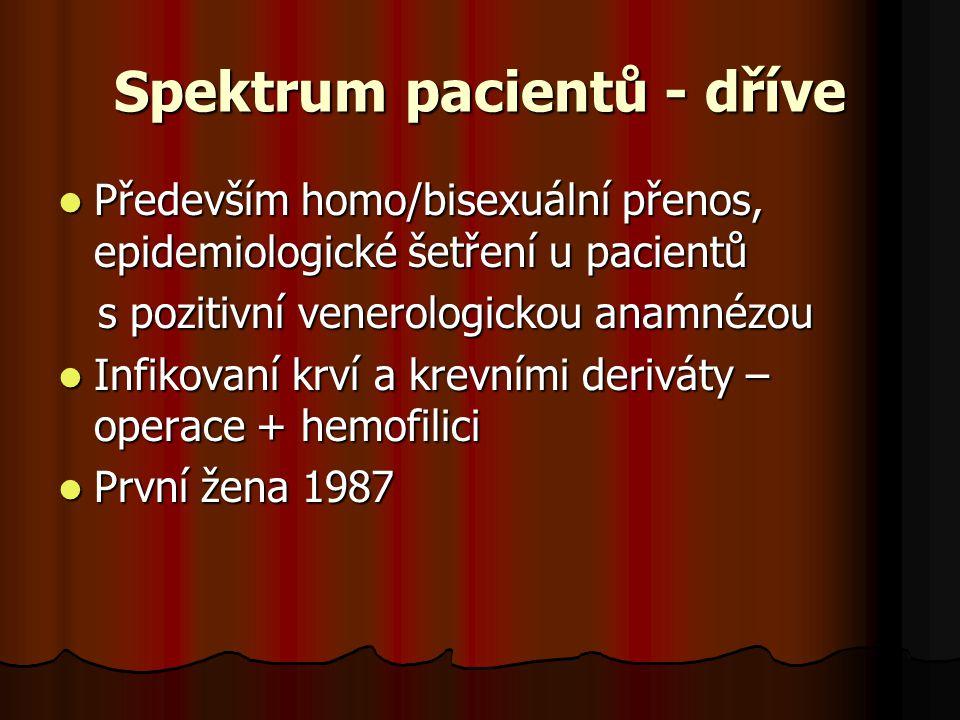 Spektrum pacientů - dříve