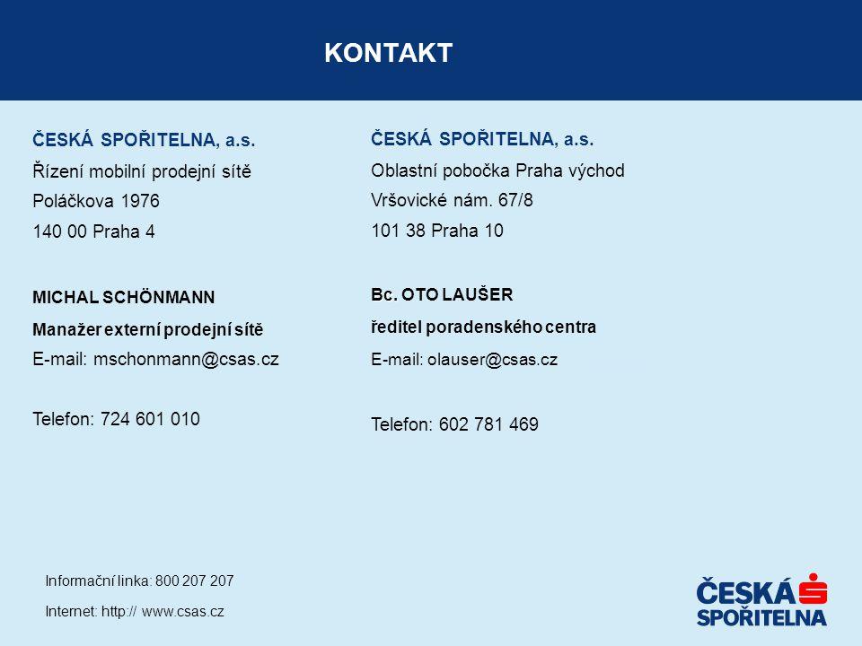 KONTAKT ČESKÁ SPOŘITELNA, a.s. ČESKÁ SPOŘITELNA, a.s.
